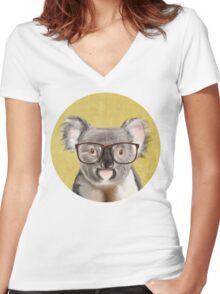 Mr Koala Women's Fitted V-Neck T-Shirt