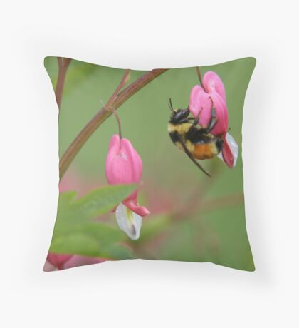 Bumble Bee on Blwwding Heart Throw Pillow