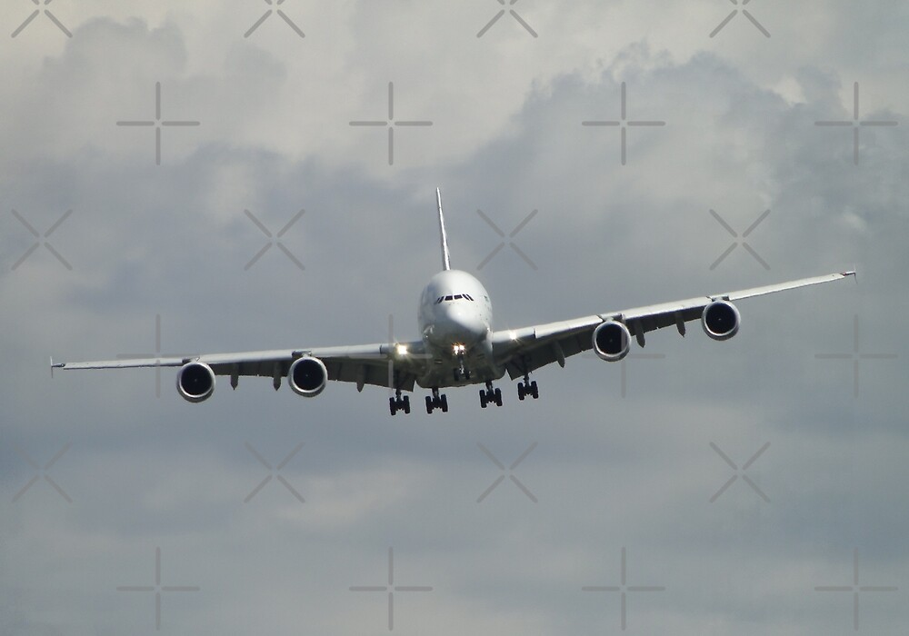 A380 On Final Approach by Barrie Woodward