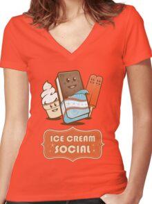 Ice Cream Social Women's Fitted V-Neck T-Shirt