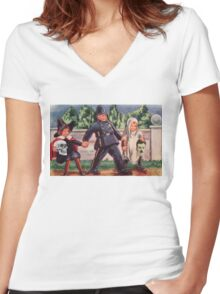 Young Gravediggers  (Vintage Halloween Card) Women's Fitted V-Neck T-Shirt