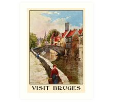 Vintage retro style Bruges travel ad Art Print