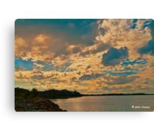 Lough Neagh Sunset, Digital Oil On Canvas Canvas Print
