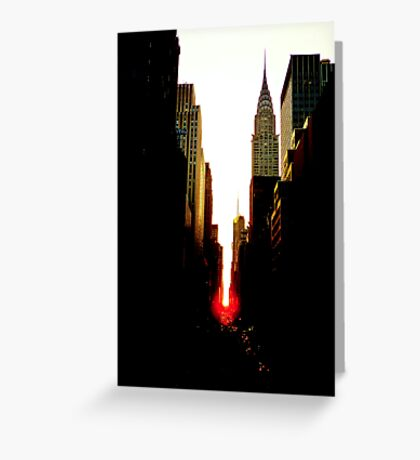 Manhattanhenge Sunset and the Chrysler Building Greeting Card
