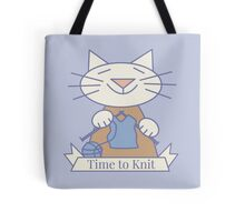 Time to Knit Cat Tote Bag