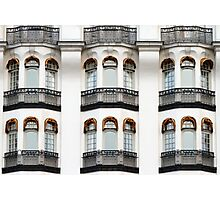 White vintage facade with balconies. Photographic Print