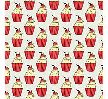Colorful cup-cakes pattern set Photographic Print