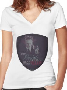 Every fairytale needs a good old, old-fashioned villain. Women's Fitted V-Neck T-Shirt