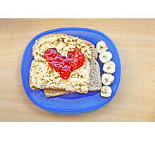 Heart of Strawberry Jelly PBJ Sandwich Photographic Print