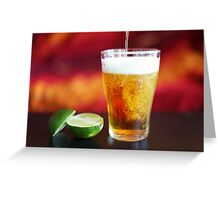 Beer being poured into glass with lime Greeting Card