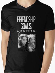 Friendship Goals; Spanna-- White Mens V-Neck T-Shirt