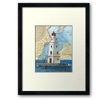 Ashland Breakwater Lighthouse WI Nautical Map Peek Framed Print