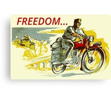 Retro vintage style FREEDOM motorcycle  Canvas Print