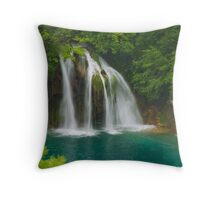 Scenic waterfall and turquoise water. Throw Pillow