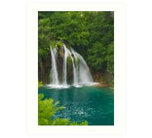 Scenic waterfall and turquoise water. Art Print