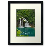 Scenic waterfall and turquoise water. Framed Print