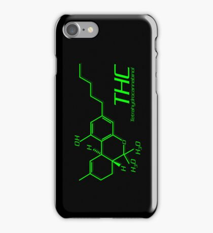 THC Molecule iPhone Case - Black, Green iPhone Case/Skin
