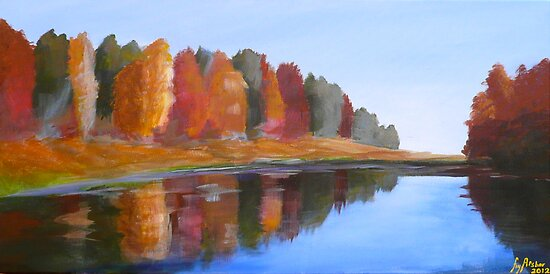 "Autumn River - Acrylic Painting - 30"" by 15"" by fayafshar"