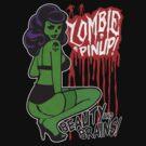 Zombie Bombshell Pinup Tshirt by deerokone