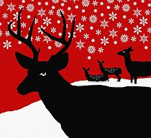Deer Family in Snow, Christmas Winter Scene by ShoaffBallanger
