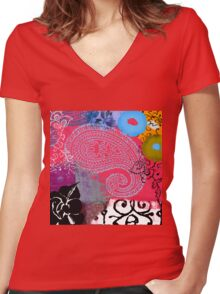 Bali III Abstract Fine Art Collage Women's Fitted V-Neck T-Shirt