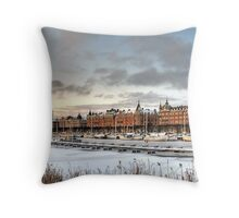 City in winter. Throw Pillow