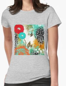 Bali I Abstract Collage Fine Art Womens Fitted T-Shirt