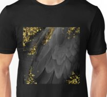 MidSummer Magik noir abstract feathers, gold sparkles Unisex T-Shirt