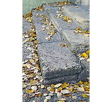 Side view of the steps of the old gray stone blocks Photographic Print