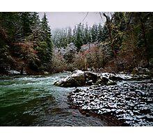 Santiam River And Snow Photographic Print