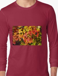 Background of bright red and yellow maple leaves Long Sleeve T-Shirt