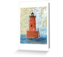 Bloody Pt Bar Lighthouse MD Nautical Chart Peek Greeting Card