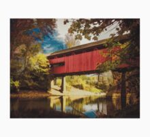 Red Covered Bridge Over Stream in Autumn One Piece - Long Sleeve