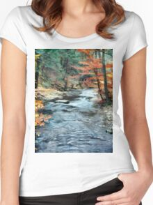 Colorful Autumn Leaves Beside Cool Blue Stream Women's Fitted Scoop T-Shirt