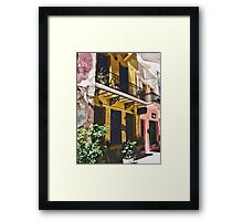 Colorful Vintage Hotel in Latin America Framed Print