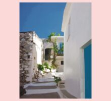 Lots of Steps and Whitewashed Buildings in Greece One Piece - Short Sleeve