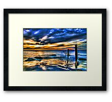 Brilliant Sunset at Washed Out Pier Framed Print
