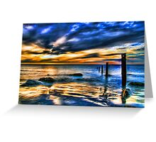 Brilliant Sunset at Washed Out Pier Greeting Card