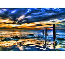 Brilliant Sunset at Washed Out Pier Photographic Print