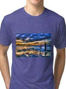 Brilliant Sunset at Washed Out Pier Tri-blend T-Shirt