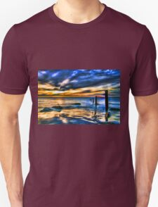 Brilliant Sunset at Washed Out Pier Unisex T-Shirt