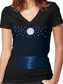 By the Moon Women's Fitted V-Neck T-Shirt