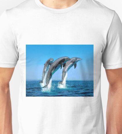 Leaping Dolphins in Crystal Water Spray Unisex T-Shirt
