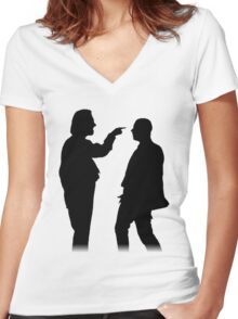 Bottom silhouette - Richie and Eddie Women's Fitted V-Neck T-Shirt