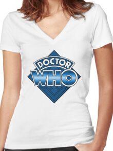 Doctor Who Diamond Logo - Blue Women's Fitted V-Neck T-Shirt