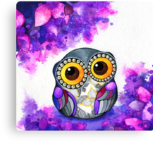 Owl in Purple Blossoms Canvas Print