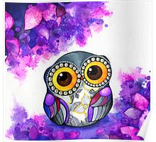 Owl in Purple Blossoms Poster