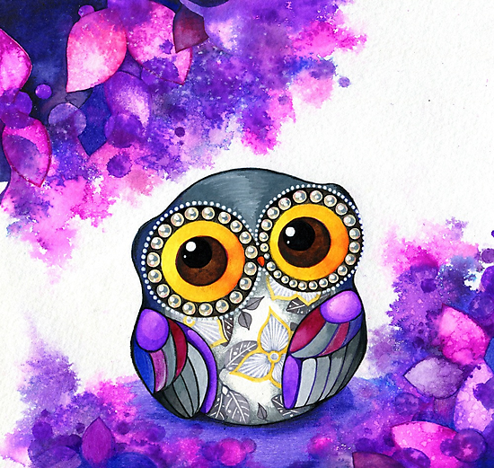Owl in Purple Blossoms by Annya Kai