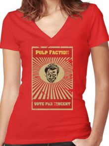 Pulp Faction - Vincent Women's Fitted V-Neck T-Shirt