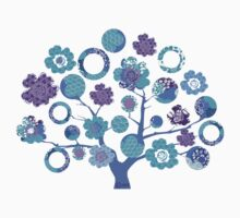 tree of life - blue blossoms Kids Clothes